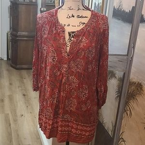 Red Patterned Max Jeans Top